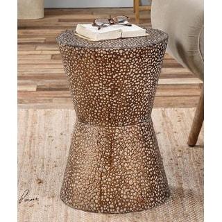 "20"" Antiqued Copper Bronze Metal Drum Decorative Accent Table"