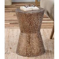 "20"" Antiqued Copper Bronze Metal Drum Decorative Accent Table"