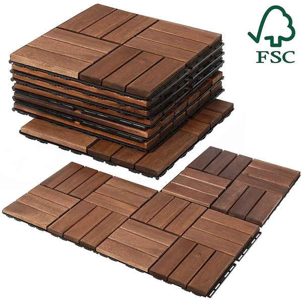 Mammoth Sustainably Sourced Easy Lock Acacia Wood Deck Tiles