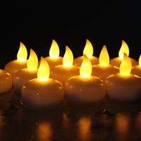 AGPtek 12PCS Yellow Battery Operated Waterproof LED Flickering Flameless Tealight Candles for Wedding Birthday Party