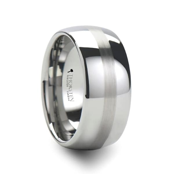 THORSTEN - BELLATOR Domed with Brushed Stripe Tungsten Wedding Ring - 10mm