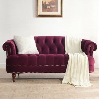 Link to Copper Grove Barcelona Velvet Chesterfield Tufted Sofa Similar Items in Living Room Chairs