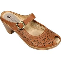 White Mountain Women's Gilding Peep Toe Mule Luggage Leather