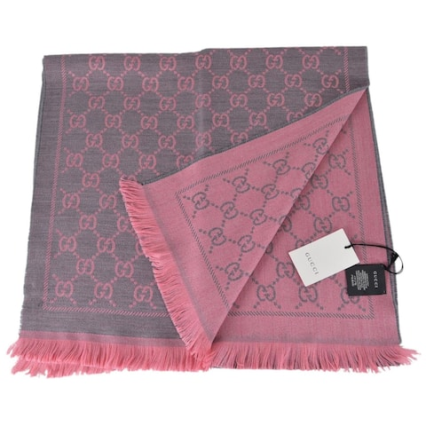 "Gucci Women's Grey Pink Wool GG Guccissima Scarf Muffler - 70"" x 18"""