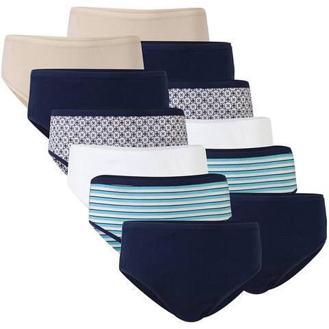 Gildan Women's Cotton Hi Cut, Nude/Navy/Floral/White/Stripe/Navy, Size X-Large