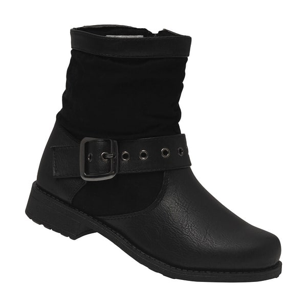 0f9d451285b Shop Rachel Shoes Girls Black Buckle Strap Side Zipper Ankle Boots ...