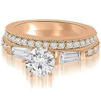 1.20 cttw. 14K Rose Gold Round And Baguette Cut Diamond Bridal Set