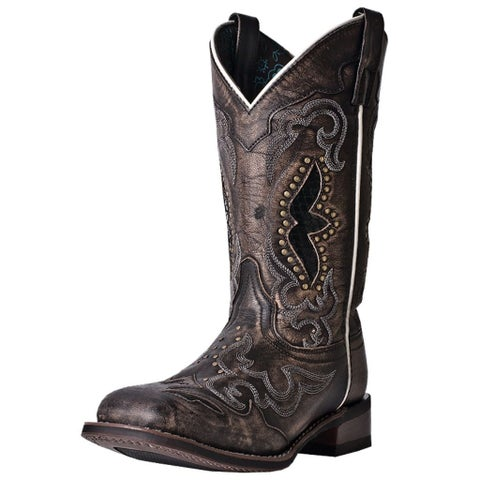 Laredo Western Boots Womens Spellbound Sanded Goat Black Tan