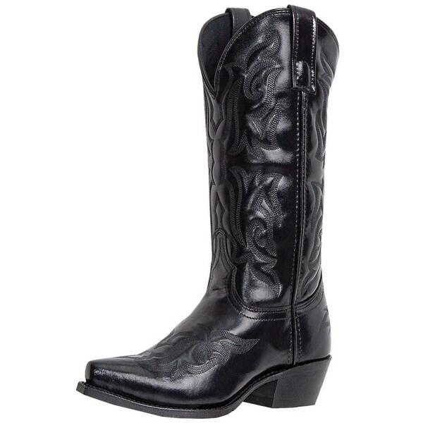 Laredo Western Boots Mens Hawk Cowboy Stitched Snip Toe Black