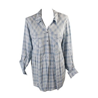 Style & Co Blue White Tab-Sleeve Gingham Tunic XXL