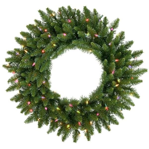 """48"""" Pre-Lit Camdon Fir Artificial Christmas Wreath - Multi Dura Lights - green"""