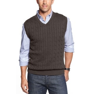 Club Room Cable Knit Sweater Vest Medium M Charcoal Heather Cotton V-Neck