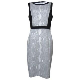 Calvin Klein Women's Snake Print Contrast Sheath Dress - tin multi