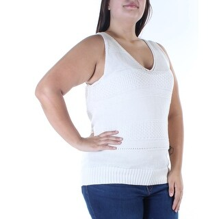 RALPH LAUREN $98 Womens New 0415 Ivory Knitted V Neck Sleeveless Sweater XL B+B