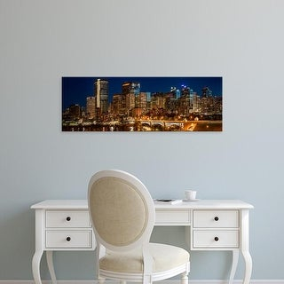 Easy Art Prints Panoramic Image 'City skylines, Center Street Bridge, Bow River, Calgary, Alberta, Canada' Canvas Art