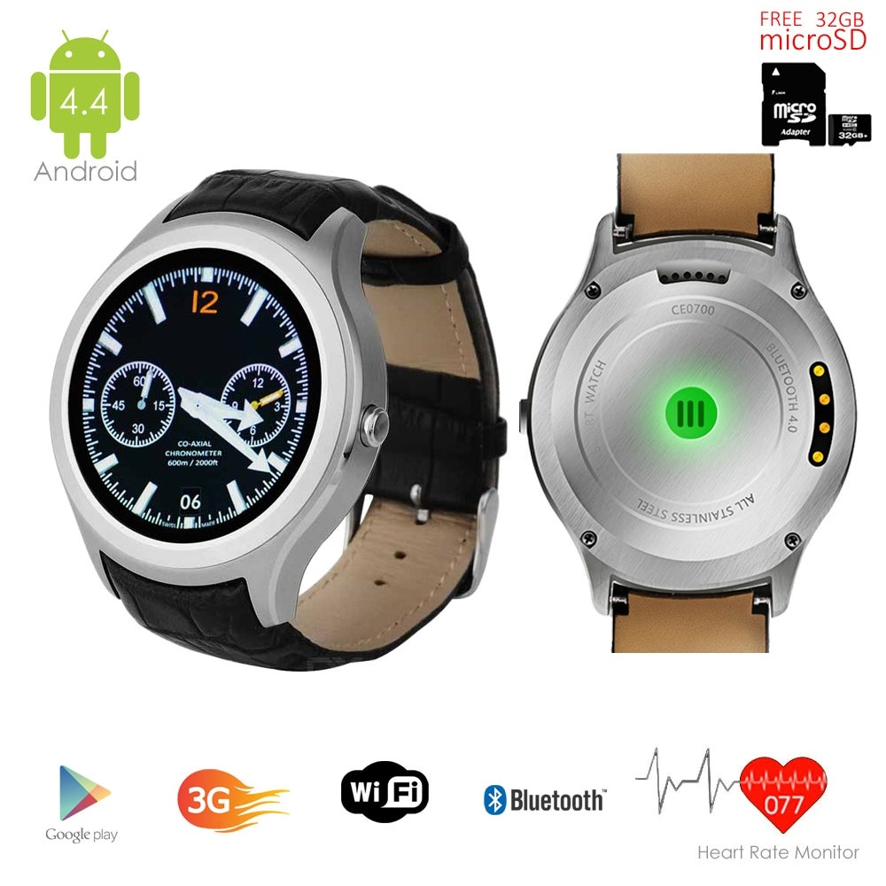 Indigi® 3G Smartwatch & Phone (Factory Unlocked) Android 4.4 KitKat + WiFi + Built-In Camera + Google Play Store w/ 32gb microSD - Thumbnail 0