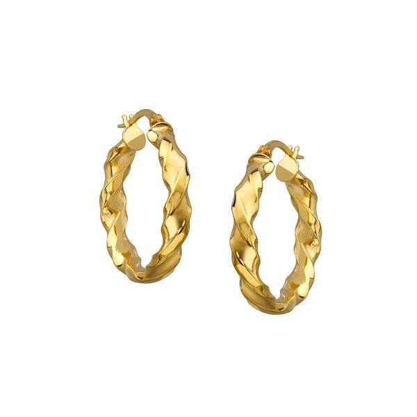 Just Gold Twist Hoop Earrings in 14K Gold - YELLOW