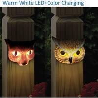 "Kanstar 2PK 6"" SMD-LED Animal Solar Powered Color Changing Deck Night Light Outdoor  Landscape Garape Garden Yard Fence White"