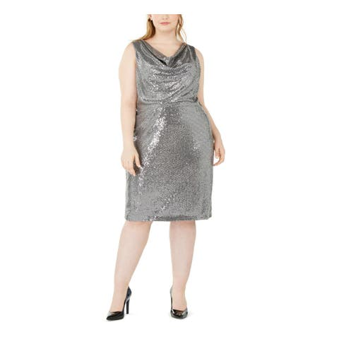 CALVIN KLEIN Silver Sleeveless Knee Length Sheath Dress Size 16W