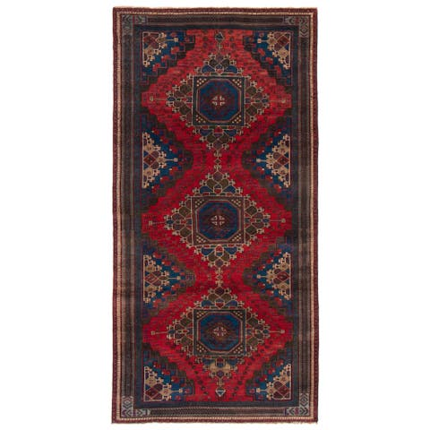 ECARPETGALLERY Hand-knotted Anatolian Vintage Red Wool Rug - 3'10 x 8'3