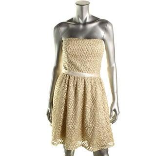 Aidan Mattox Womens Mesh Metallic Party Dress - 12