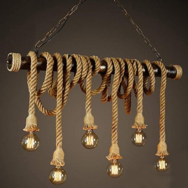 Shop 6 Light Industrial Chandelier, Hemp Rope Twisted