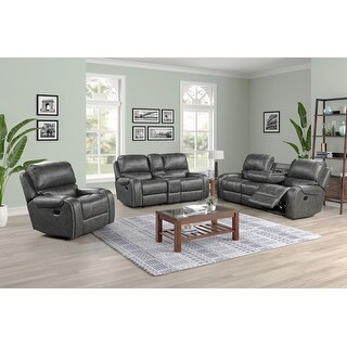 Link to Achern Faux Leather-Air Nailhead Manual Reclining 3-Piece Sofa Set Similar Items in Living Room Furniture