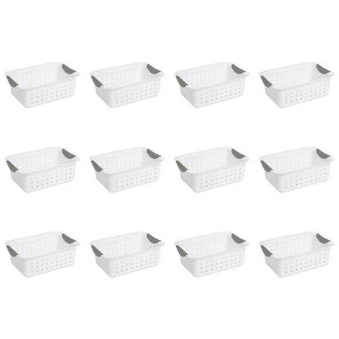 Case of 12 White Sterilite Small Baskets
