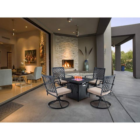 MFSTUDIO 5-Piece Patio Furniture Propane Fire Pit Set, 4 Metal Mesh Swivel Chairs and 28 inch Steel Striped Square Fire Table