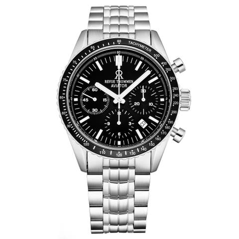 Revue Thommen Men's 17000.6137 'Aviator' Black Dial Stainless Steel Chronograph Automatic Watch