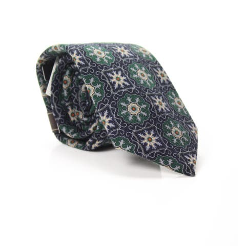 Tasso Elba Men's Neck Tie Green Wool One Size Valente Medallion Woven