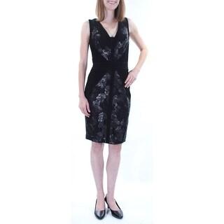 CALVIN KLEIN $199 Womens New 1083 Black Floral Sequined Lace Sheath Dress 2 B+B