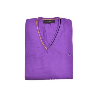 Euro Violet Purple Wool Duo Tone Border Thin Knit V Neck Sweater