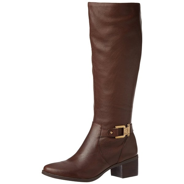 AK Anne Klein Women's Joetta Leather Riding Boot