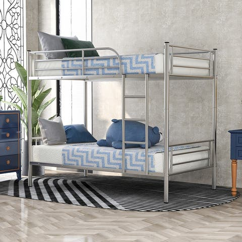Moda Twin-Over-Twin Metal Bunk Bed in Silver Finish
