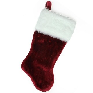 """19.5"""" Red Super Plush Traditional Christmas Stocking with White Cuff"""