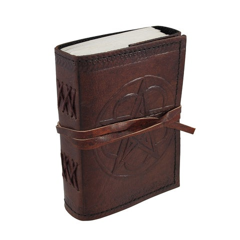 Embossed Leather Pentacle Journal with Leather Cord 3 1/2 in. X 5 in. - brown