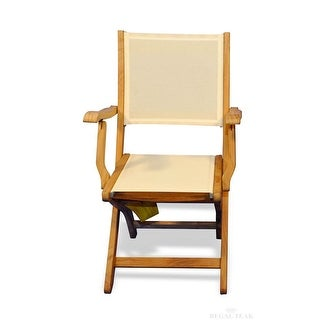 Set of 2 Natural Teak Outdoor Patio Folding Dining Chairs with Cream Batyline Fabric