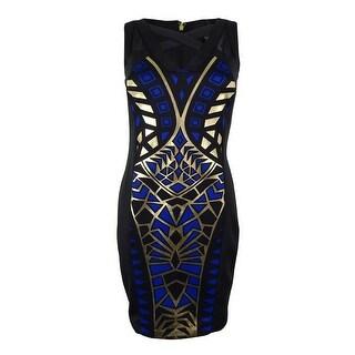 Thalia Sodi Women's Metallic Print Cut Out Dress - lazulite combo