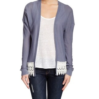 Wild Pearl NEW Blue Women's Size XS Crochet-Trim Cardigan Sweater