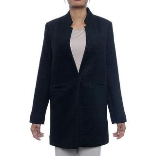 Kenneth Cole Reaction  Open Front Wool-Blend Coat Basic Coat BLK