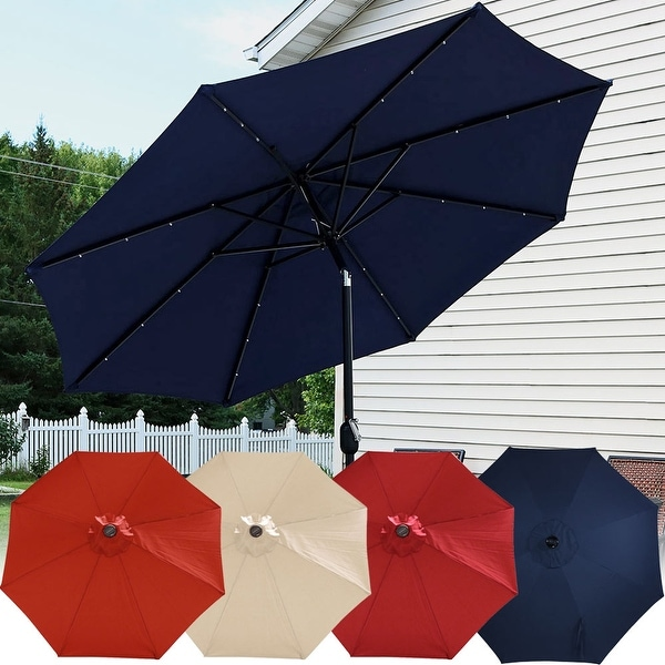 radiant patio with comfy market led solar umbrella w ft wooden lights along garden ga outdoorumbrella