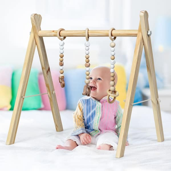 Baby Newborn Gift Pink Avrsol Baby Play Gym Wooden Infant Activity Gym Foldable Baby Gym with 3 Teething Toys