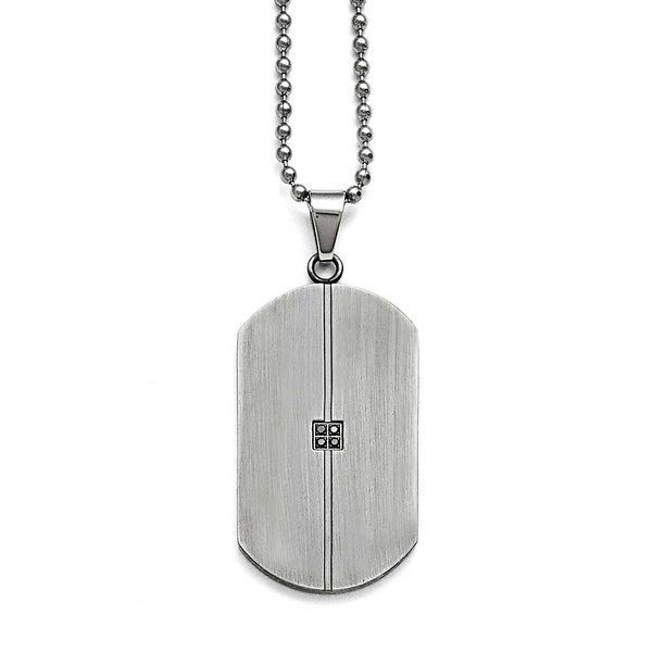 Chisel Stainless Steel Matte/Antiqued 0.04ct.tw Diamond Dogtag Necklace - 22 in