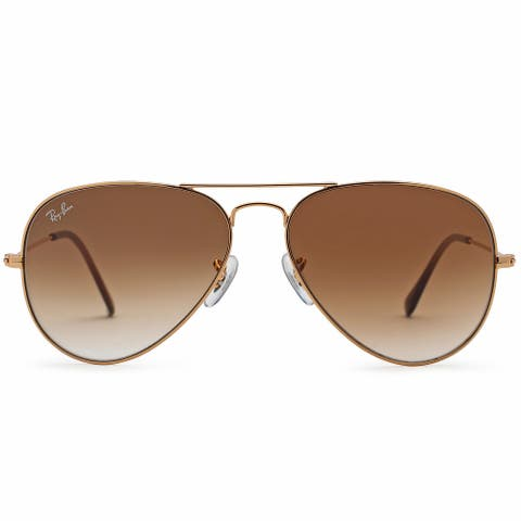 Ray Ban 58mm Aviator Sunglasses (Gold Frame/Brown Gradient Lens)