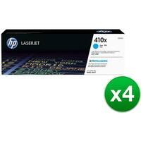 HP 410X High Yield Cyan Original LaserJet Toner Cartridge (CF411X)(4-Pack)