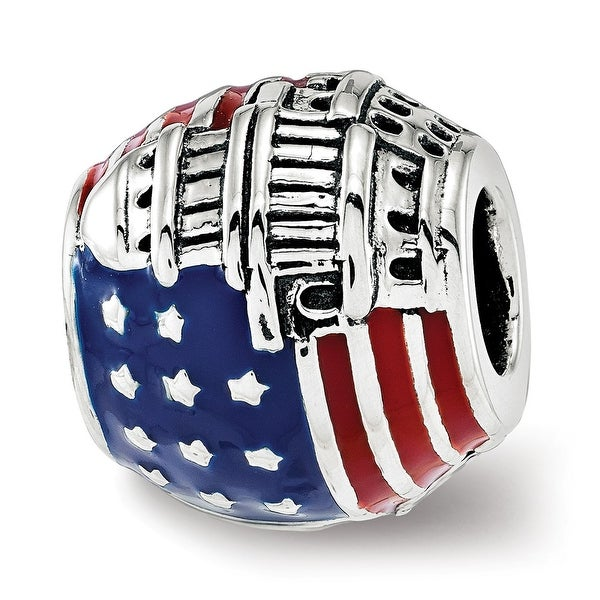 Sterling Silver Reflections Enameled American Flag Bead