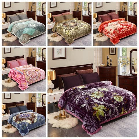 Plush Raschel Blanket Korean Mink Blankets - Silky Soft 2 Ply Printed Fleece Blanket