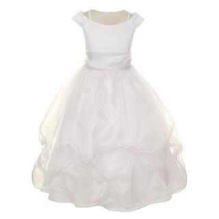 Girls White Sash Satin Organza Pick-up Flower Girl Communion Dress 8-16 (5 options available)