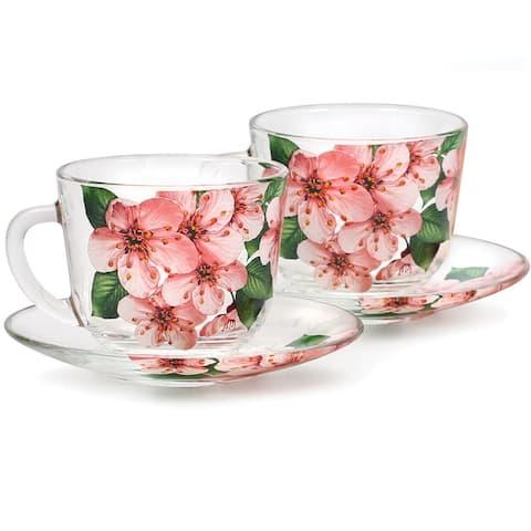 STP-Goods Sakura Durable Glass Tea Cup and Saucer Set of 2